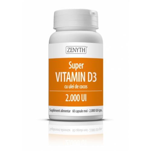 Super Vitamin D3 cu ulei de cocos 60CPS ZENYTH